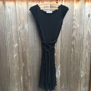 Zara black pleated fit flare cocktail dress